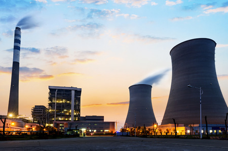 Photo pour tops of cooling towers of atomic power plant - image libre de droit