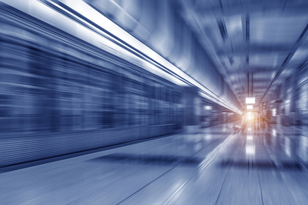 The subway station with motion blur
