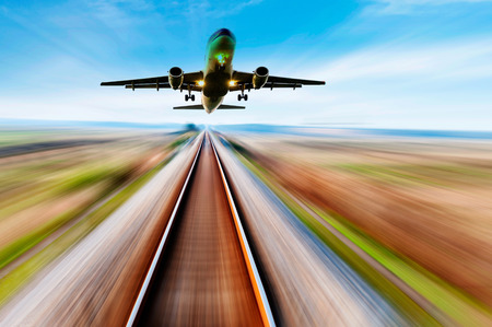 The way forward railway,the airplane fly away