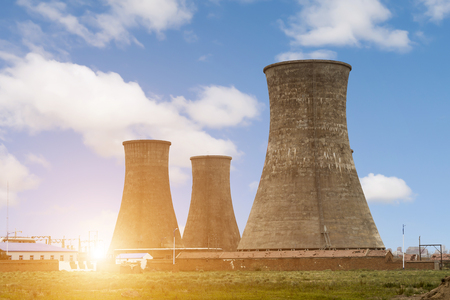 Photo for tops of cooling towers of atomic power plant - Royalty Free Image