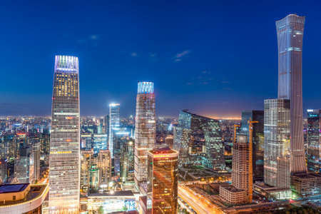 Photo pour Beijing, China modern financial district skyline on a nice day with blue sky. - image libre de droit