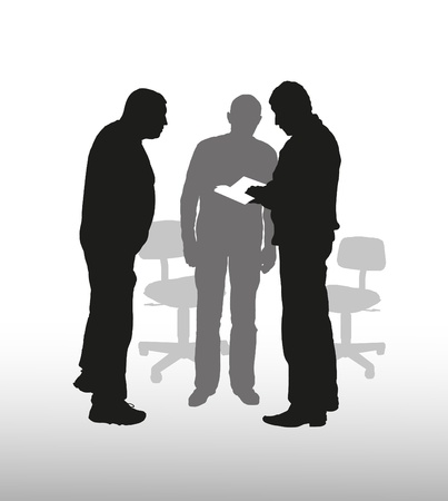 Composition business of subjects with man's silhouettes