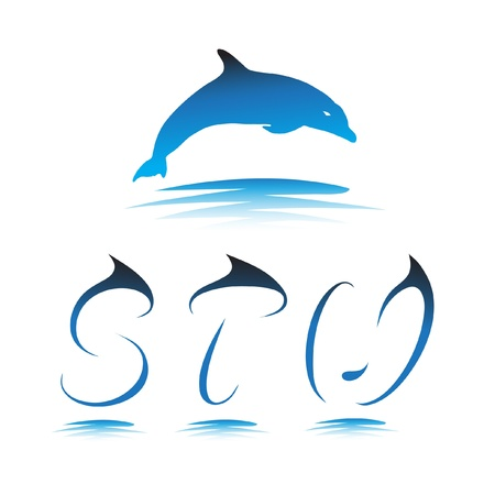 Font the Dolphin. Letters S, T, U vector