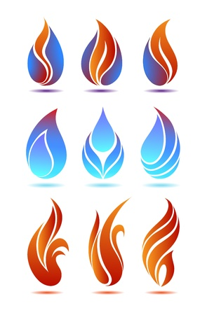 Symbols red and blue fire on white background vector