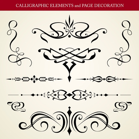 CALLIGRAPHIC ELEMENTS and PAGE DECORATION vector design