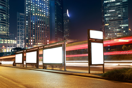 Blank billboard on the bus stop,shanghai,China