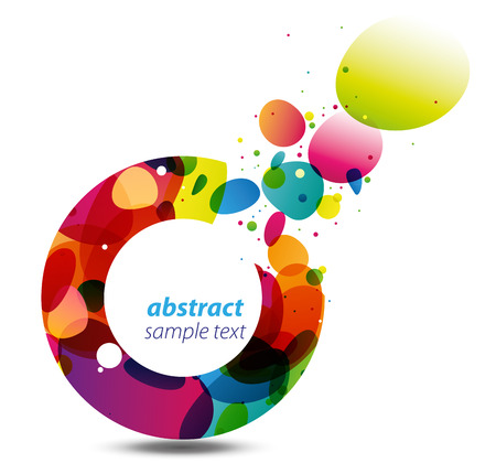 Abstract background with bursting colorful bubbles out of a circle, a modern, stylish and vivid copy space