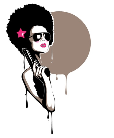 A beautiful illustration of a pretty girl holding a gun, perfect for t-shirt, posters, event flyers etc.