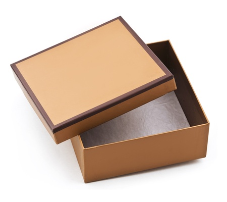 isolated image of a empty and half-opened brown cardboard box