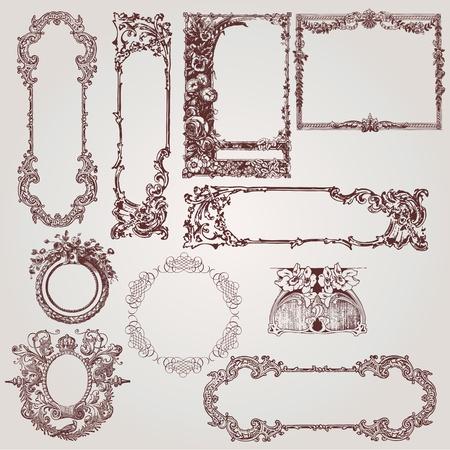 Illustration pour a collection of beautiful antique victorian, baroque frames and design elements - image libre de droit