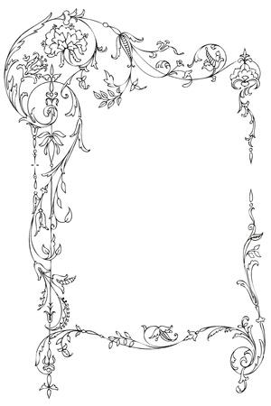 Ilustración de Classic floral frame with Victorian leaves and curls - Imagen libre de derechos