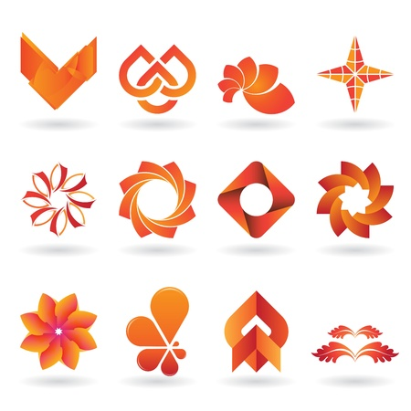 Illustration pour A collection of modern and and fresh logos or icons in orange tones, 12 original pieces - image libre de droit