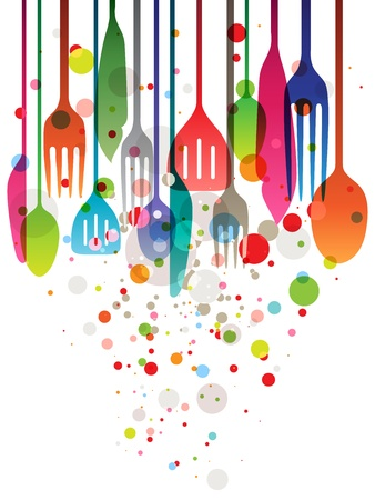 Illustration for Beautiful vector illustration with multi-colored utensils for all kind of food related designs - Royalty Free Image