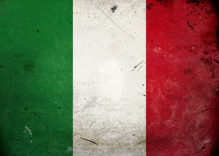 The flag of Italy on old and vintage grunge texture