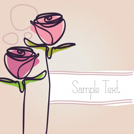 two hand drawn rose illustrations and a copy space for your text