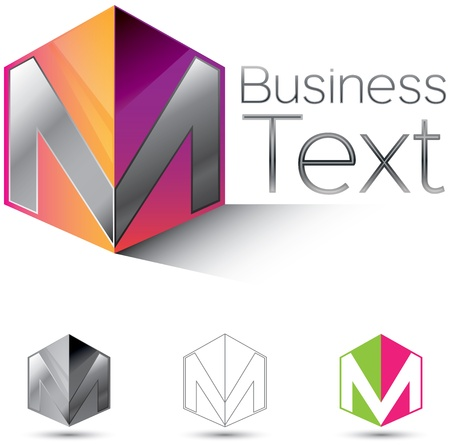 Attractive corporate identity design element with the letter M in  glossy 3d box