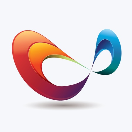 Ilustración de Abstract and colorful infinity symbol with light effects - Imagen libre de derechos