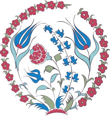 Illustration pour Elegant vector motif of beautiful Iznik style tulips, traditional Turkish-Ottoman art - image libre de droit