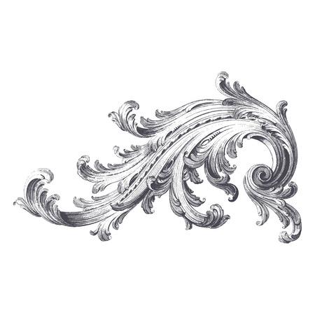 Illustration pour Ancient vector engraving of acanthus scroll design - image libre de droit
