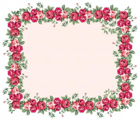Illustration pour Shabby rose frame - image libre de droit