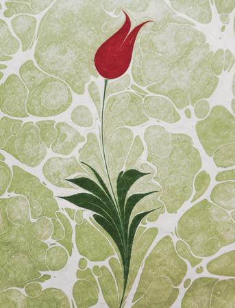 Tulip marbling art, Turkish ebru artwork