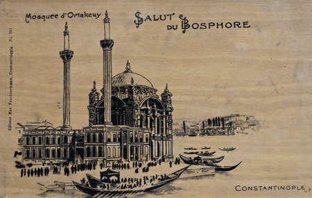 Etching of Ortakoy Mosque, Istanbul on a wooden plank