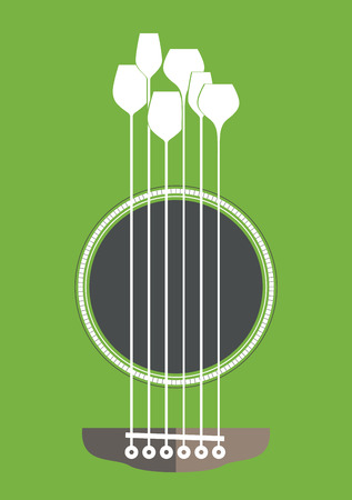 Foto de Conceptual creative illustration with acoustic guitar hole and wine glasses as the strings - Imagen libre de derechos