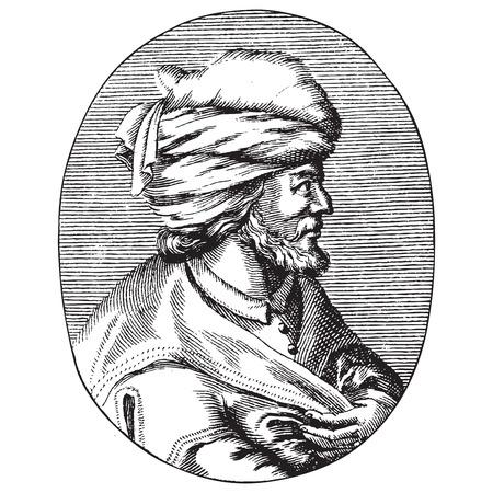 Illustration pour Engraved portrait of Osman Gazi or Osman the First, the founder of the Ottoman Empire - image libre de droit