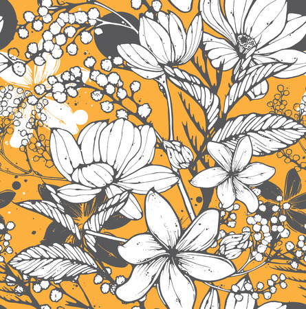 Illustration pour Beautiful seamless pattern with hand drawn flowers, frangipani, mimosa and lotus. Elegant repeating surface pattern perfect for web and print purposes. - image libre de droit