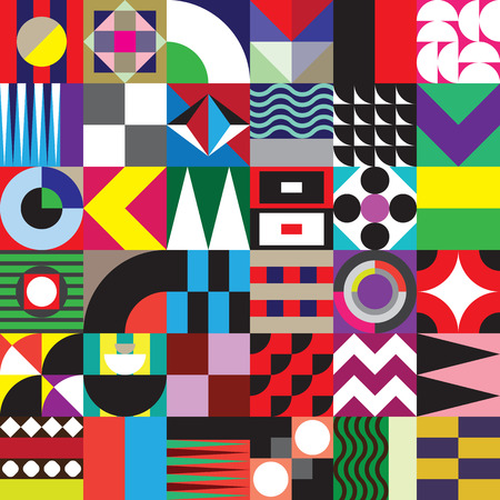 Illustration pour Contemporary geometric mosaic seamless pattern with a vibrant color scheme, repeat background with rich and modern shapes, surface pattern design for web and print - image libre de droit