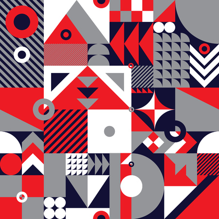 Ilustración de Contemporary geometric mosaic seamless pattern with a vibrant color scheme, repeat background with rich and modern shapes, surface pattern design for web and print - Imagen libre de derechos