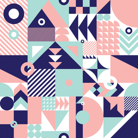 Foto de Contemporary geometric mosaic seamless pattern with a vibrant color scheme, repeat background with rich and modern shapes, surface pattern design for web and print - Imagen libre de derechos