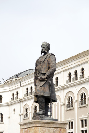 Skopje, Macedonia - April 4, 2017: Statue of Georgi Pulevski, a major figure who endorsed the concept of an ethnic Macedonian identity resulting in the founding of Macedonian nationalism