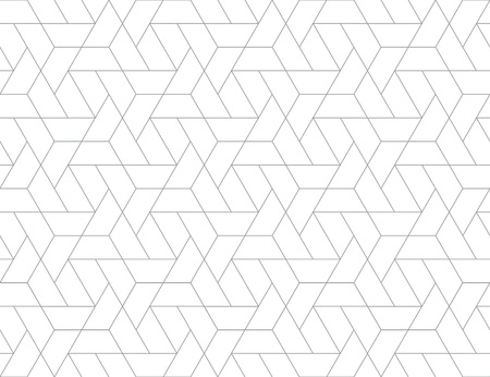 Illustration for Geometric grid with intricate hexagonal and triangular shapes seamless pattern design, repeating background for web and print purposes. - Royalty Free Image