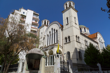 Thessaloniki, Greece - July 22, 2018: Exterior view of the church of Constantinos and Helen (Ieros Naos Agios Konstantinos k Helenes) in Thessaloniki, Greece.