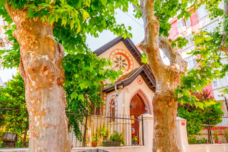 Foto per Istanbul, Turkey - June 25, 2020: All Saints Church in Moda, Istanbul. The small temple is a Turkish Chalcedon Presbyterian church built in 1878. - Immagine Royalty Free