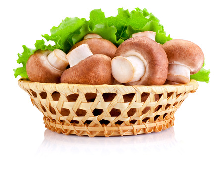 Fresh field mushroom in basket and Leaves of green salad Isolated on white backgroundの写真素材