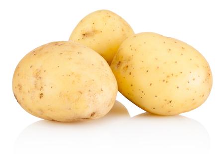 Photo for Three new potato isolated on white background - Royalty Free Image