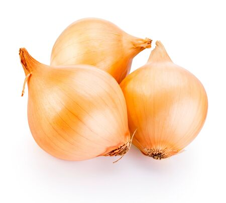 Photo for Three onion bulbs isolated on a white background - Royalty Free Image
