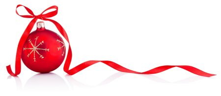 Photo pour Red Christmas decoration bauble with ribbon bow isolated on a white background - image libre de droit