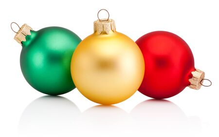 Photo pour Christmas colored baubles Isolated on a white background - image libre de droit