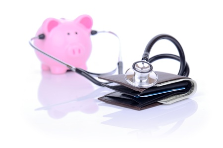 financial check up piggy bank and wallet concept focus on the wallet