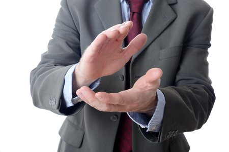 Buisnessman clapping on isolated background
