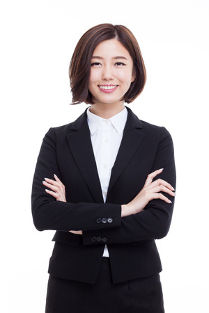 Foto de Yong pretty Asian business woman isolated on white background. - Imagen libre de derechos