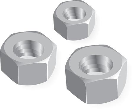 metal nuts realistic illustration