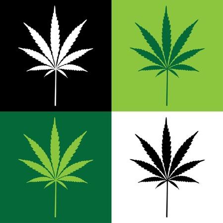 four cannabis leaf illustration