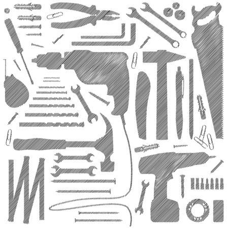 Illustration pour dyi tool - silhouette illustration - image libre de droit