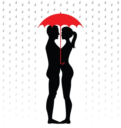 silhouette of young couple under an umbrella, standing in the rain - illustrationのイラスト素材