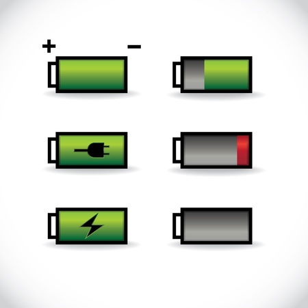 set of batteries with different level of charge, illustration