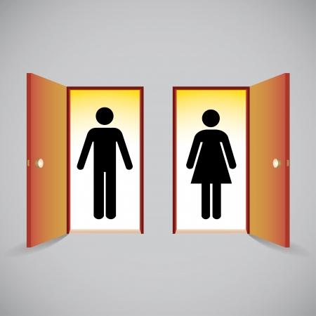Open doors and man and woman figure symbols behind the door